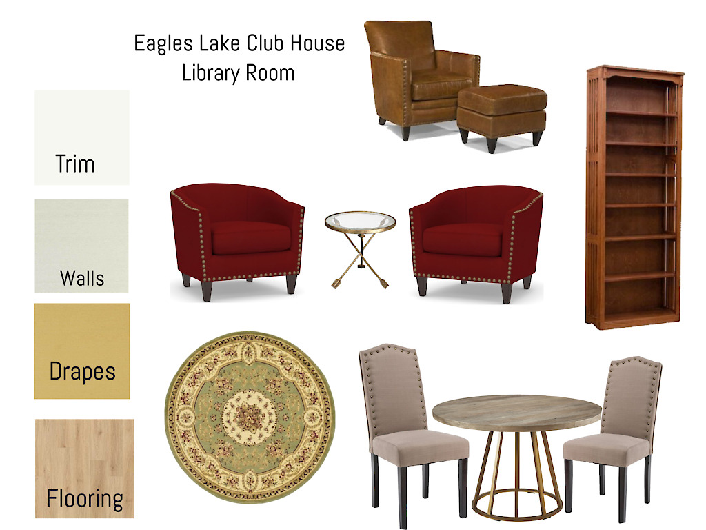 Advanced Virtual Interior Design Mood Board - Library Room