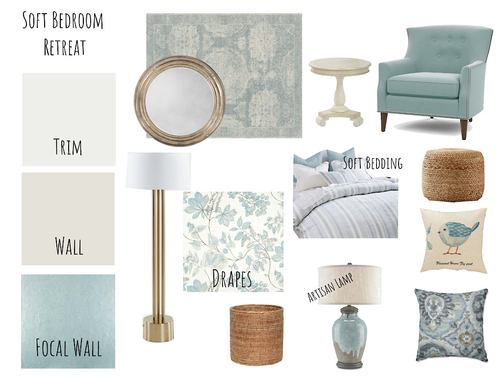 Basic Virtual Interior Design Soft Bedroom Retreat - Mood Board